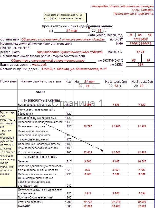 какие графы заполнять в ликвидационном балансе
