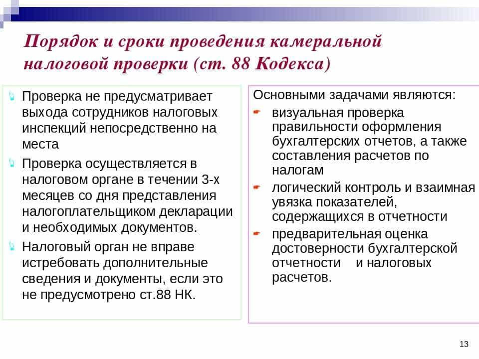 Основное определение, что означает статья 88 нк рф камеральная налоговая проверка