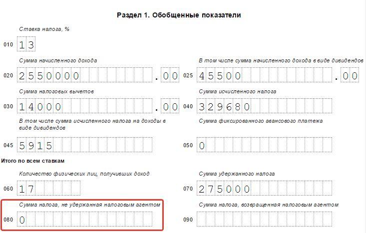 не удержанная сумма налога в 2-НДФЛ