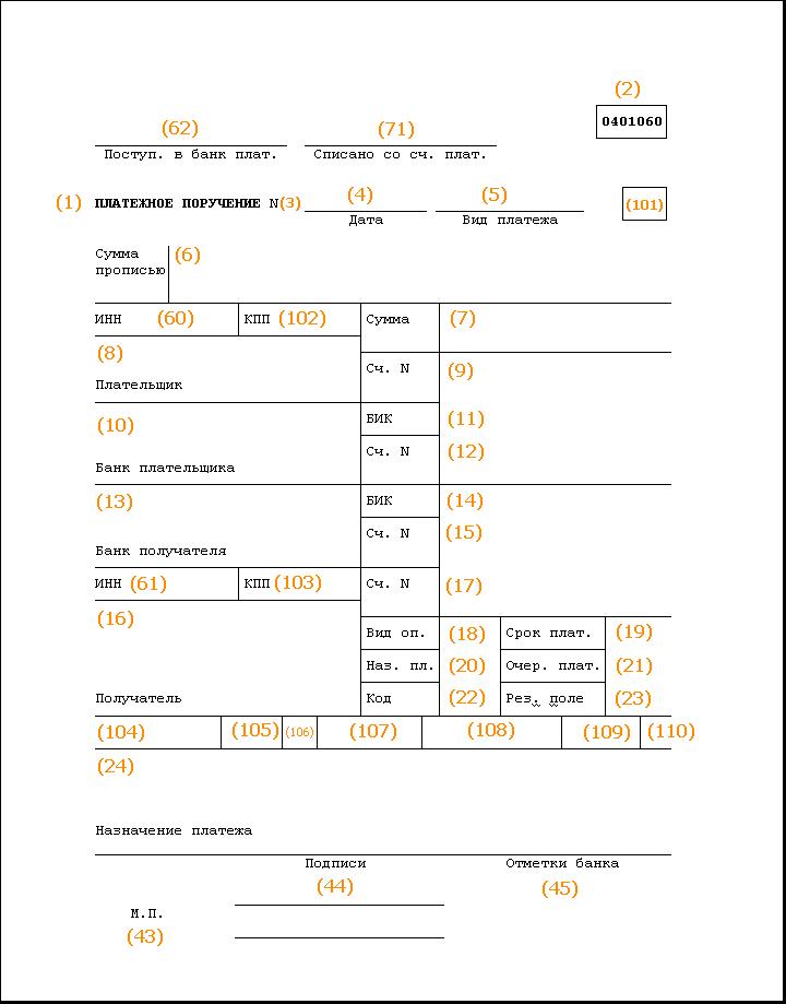 пример заполнения платежного поручения на уплату НДС