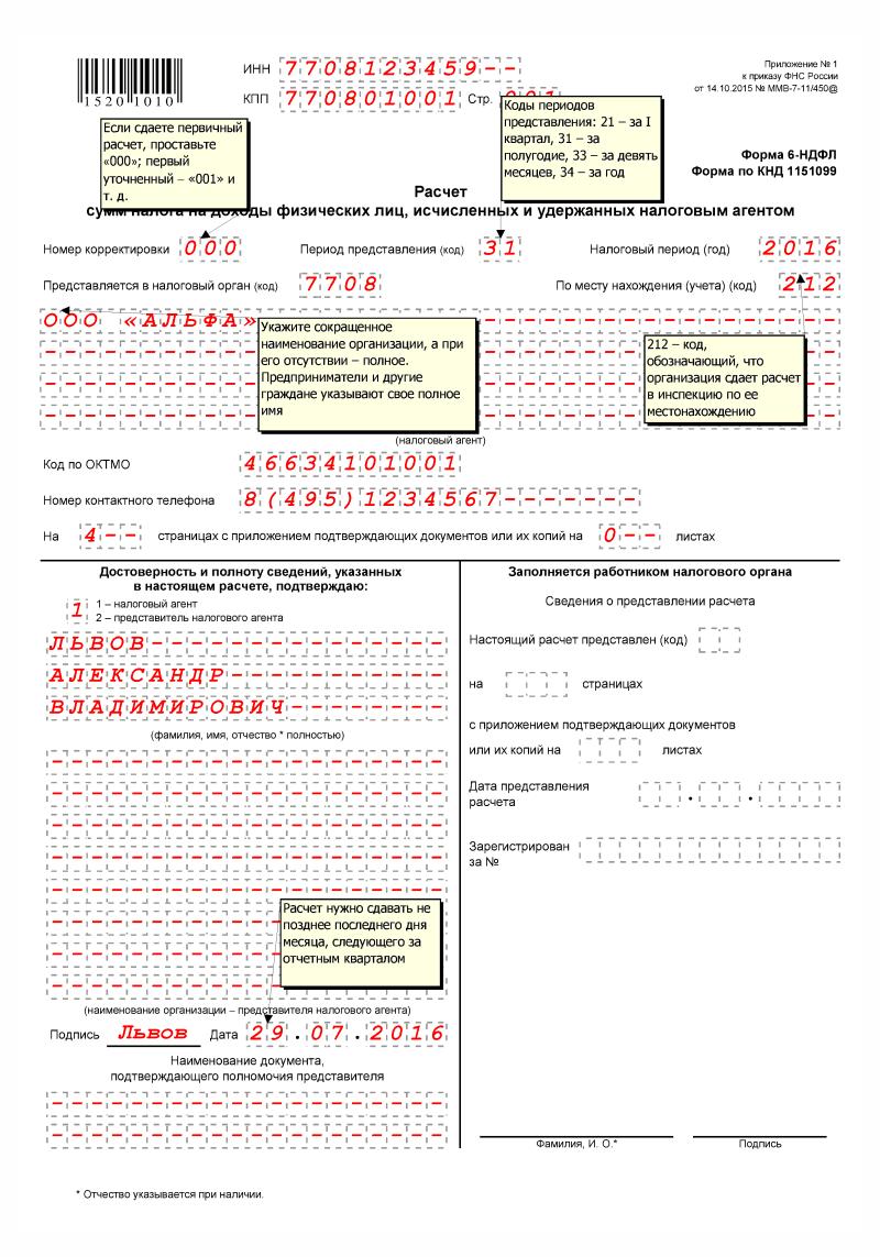 титульный лист 6-НДФЛ