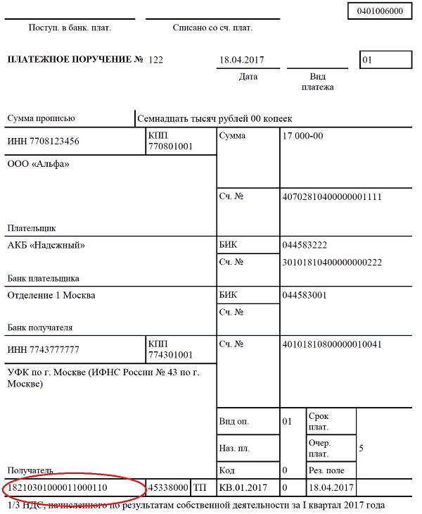Кбк ндс пени 2017 бланк для заполнения 3 ндфл 2017